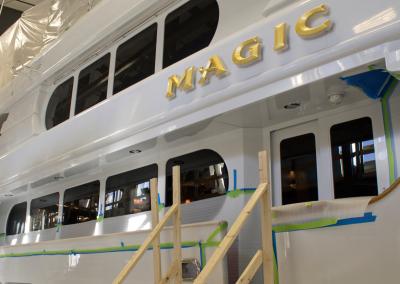 magic yacht at front street shipyard
